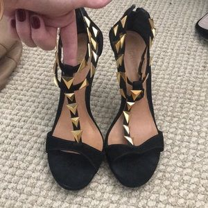 SCHUTZ Black suede shoes with gold decals